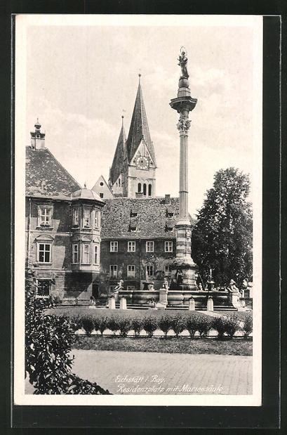 AK Eichstätt i. Bay., Residenzplatz mit Mariensäule