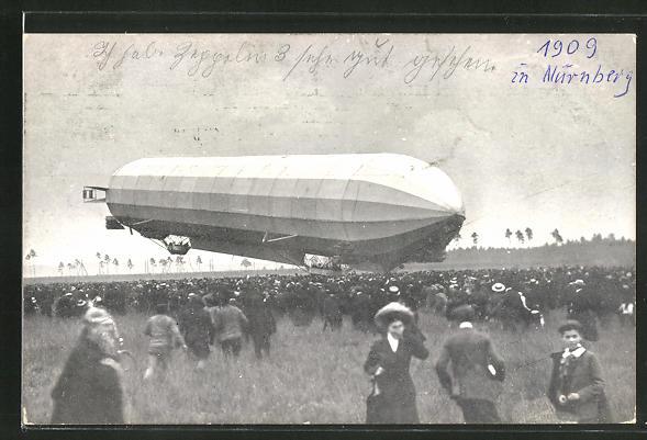 AK Schaulustige bei der Landung eines Zeppelins