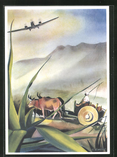 Künstler-AK Junkers Ju 52 Flugzeug über bolivianischem Hochland