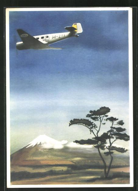 Künstler-AK Junkers Ju 160 Flugzeug auf dem Fluge nach Japan