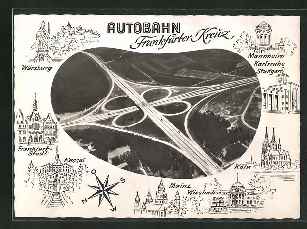 AK Autobahn, Fliegeraufnahme vom Frankfurter Kreuz