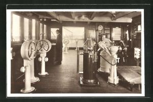 AK Passagierschiff Monte Cervantes, Kommandobrücke, Hamburg-Südamerikanische Dampfschifffahrts-Gesellschaft