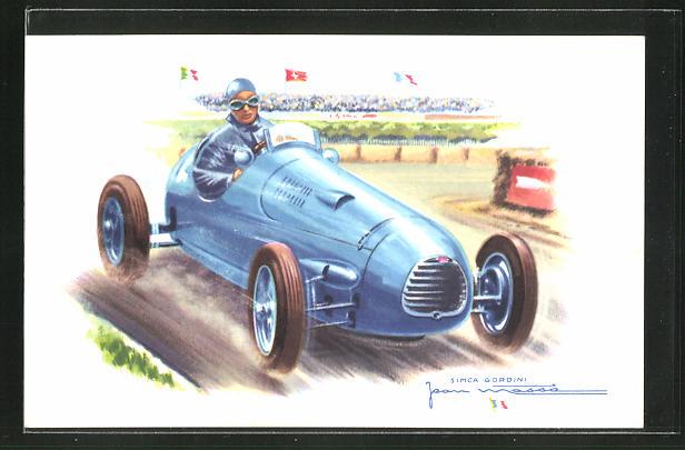 Künstler-AK Simca Gordini in einem Autorennen