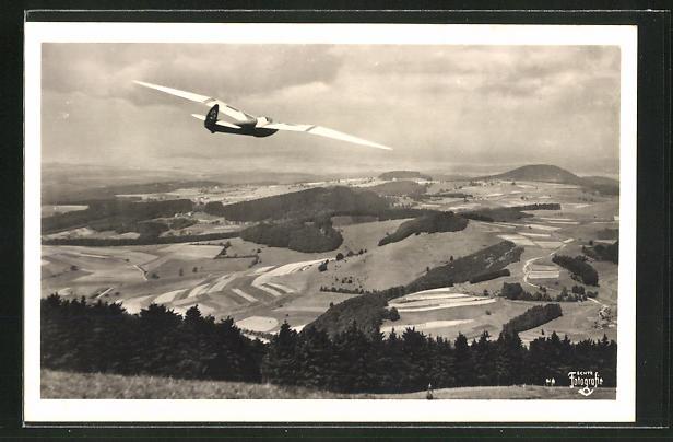 AK Segelflugzeug über der Rhön