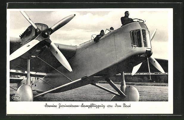 AK Dornier Zweimotoren-Kampfflugzeug vor dem Start