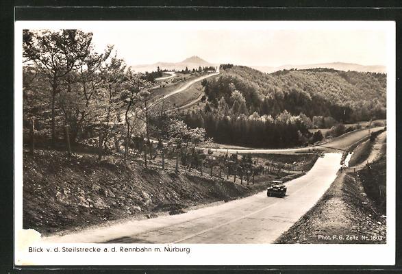 AK Autorennen auf dem Nürburgring, Steilstrecke mit Nürburg