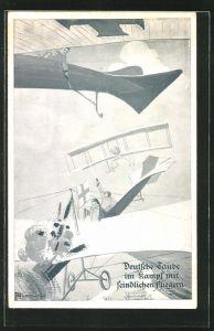 Künstler-AK Deutsche Taube im Kampf mit feindlichen Flugzeugen