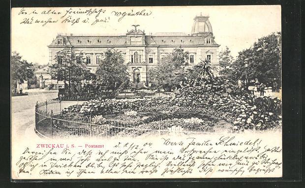 AK Zwickau i. S., Parkanlage am Postamt
