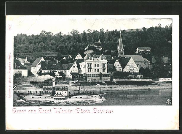 AK Wehlen, Ortsansicht mit Hotel Deutsches Reich und MS Hohenzollern