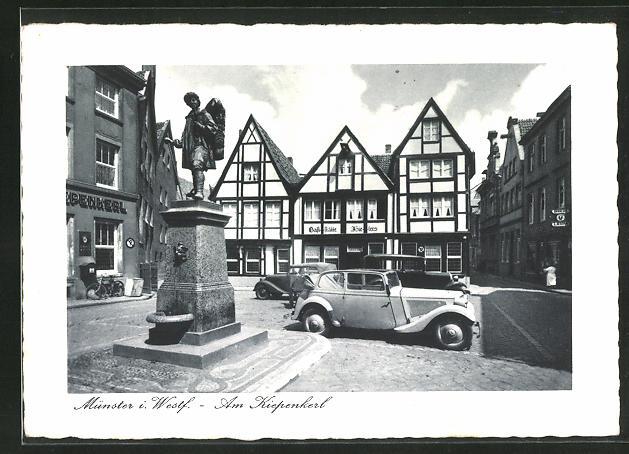 AK Münster / Westf., Gaststätte und Kiepenkerl-Denkmal