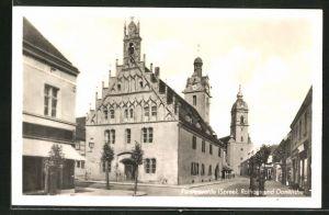 AK Fürstenwalde / Spree, Rathaus und Domkirche