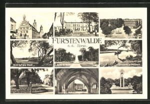 AK Fürstenwalde / Spree, Rathaus und Domkirche, Denkmalsplatz, Parkansichten, Rathausbogen