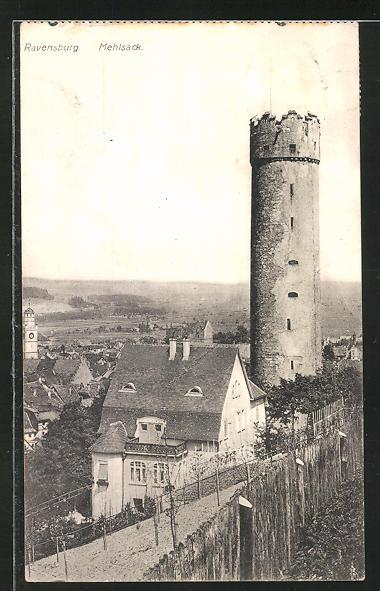 AK Ravensburg, Mehlsack mit Blick zum Ort