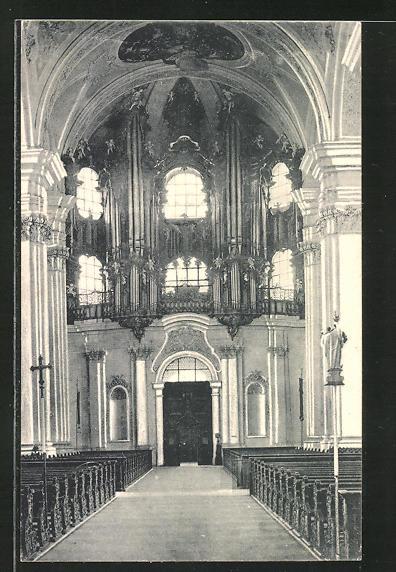 AK Weingarten, Grosse Orgel, Innenansicht Kirche