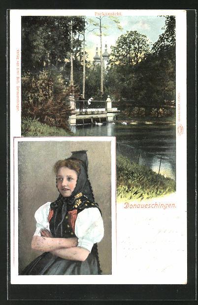 AK Donaueschingen, Parkansicht, Mädchen in Tracht