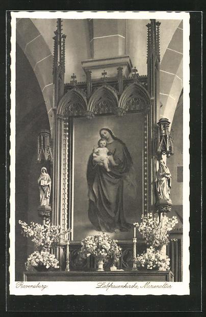 AK Ravensburg, Liebfrauenkirche , Marienaltar, Innenansicht