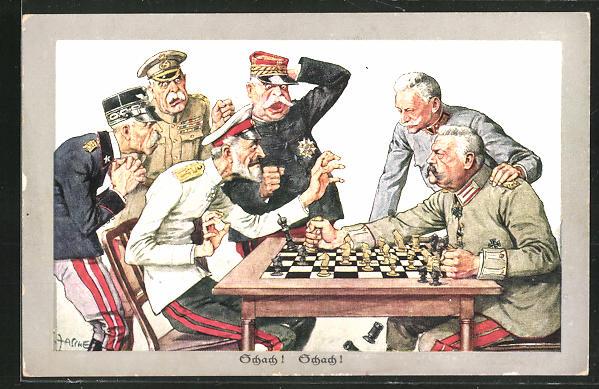 Künstler-AK Theo Zasche: Schach!, Bismarck, Propaganda