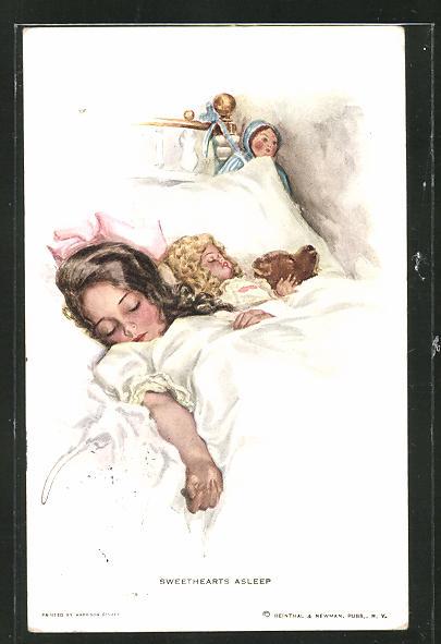 Künstler-AK Harrison Fisher: Sweethearts asleep, Schlafendes Mädchen mit Puppe