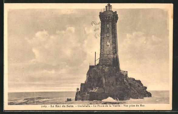 AK Le Raz de Sein, Le Phare de la Vieille, Leuchtturm auf Fels