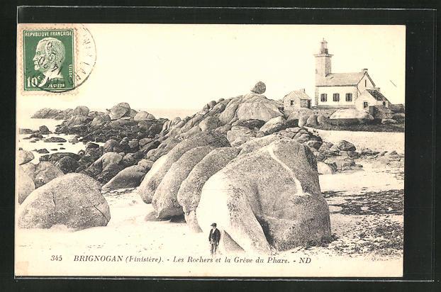 AK Brignogan, Les Rochers et la Grève du Phare, Leuchtturm