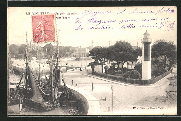 AK La Rochelle, Un Coin du port, Leuchtturm