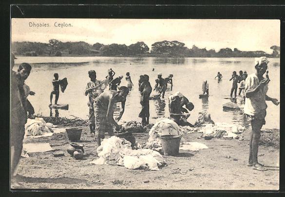 AK Ceylon, Dhobies, indische Waschfrauen