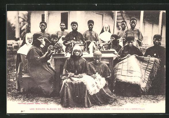 AK Castres / Libreville, Les soers Bleues, Le Noviciat indigene, Afrikanerinnen mit Nähmaschine