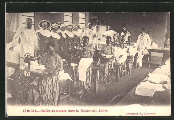AK Congo, Atelier de couturedans la Mission des Soeurs, Afrikanerinnen mit Nähmaschine
