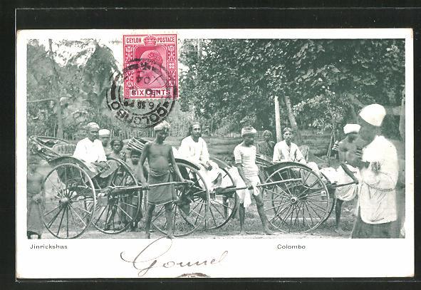 AK Colombo, Jinrickshas, Volkstypen mit Rikscha