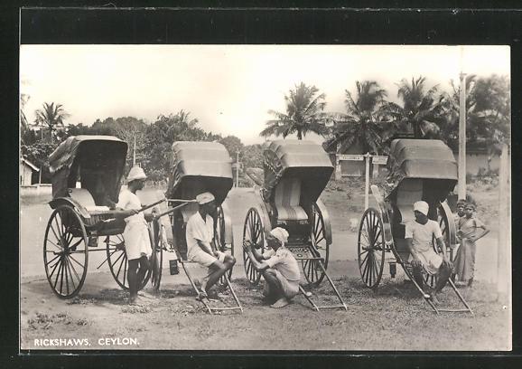 AK Ceylon, Volkstypen mit Rickshaws