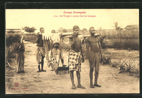 AK Congo Francais, Le Tipoge a Quatre ches les Loangos, afrikanische Volkstypen
