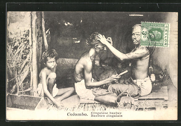 AK Colombo, Cingalese barber, Barbien cingalais, inischer Friseur