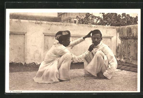 AK Indien, Friseur bei der Rasur