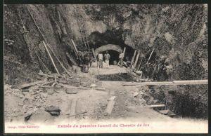 AK Entree du premier tunnel du Chemin de fer, Strassenbau