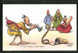 Künstler-AK F. Neri: Ti vois serpent..., Schlangenbeschwörer