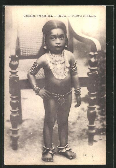 AK Filette Hindoue, kleines Mädchen aus Indien