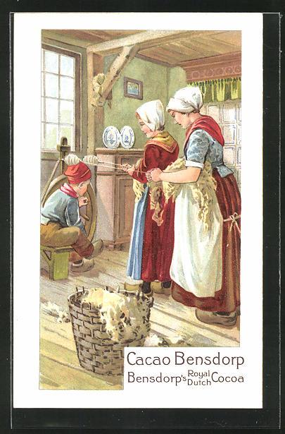 AK Cacao Bensdorp, Bensdorp's Royal Dutch Cocoa, Frauen beim Spinnen