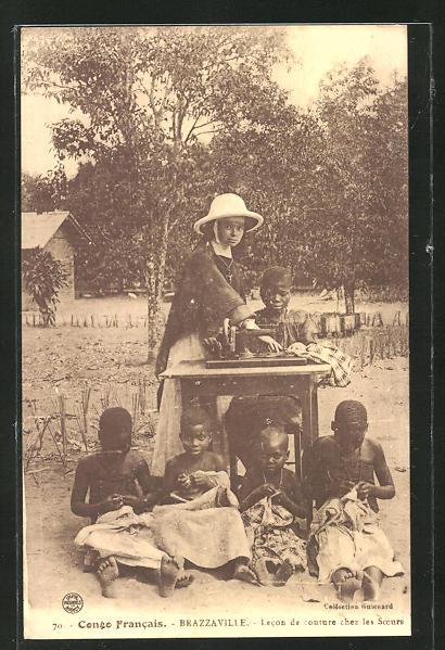 AK Brazzaville, Lecon de couture chez les Soeurs, Nonne und Kinder mit Nähmaschine