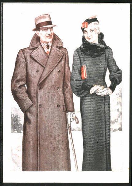 AK Masskleidung ist vornehm..., Wintermode, Mäntel, Reklame