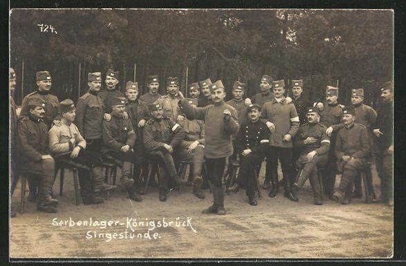 AK Königsbrück, Kriegsgefangene Serben bei einer Singstunde