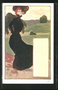 Künstler-AK Philipp + Kramer: Dame im hochgeschlossenen schwarzen Kleid beim Spaziergang