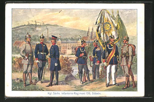 Künstler-AK Döbeln, Soldaten des Kgl. Sächs. Infanterie-Regiment Nr. 139 mit Pickelhaube und Standarte