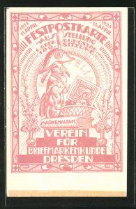 AK Dresden, Ausstellung 5. Gründungstag, 100. Sitzung des Vereins für Briefmarkenkunde