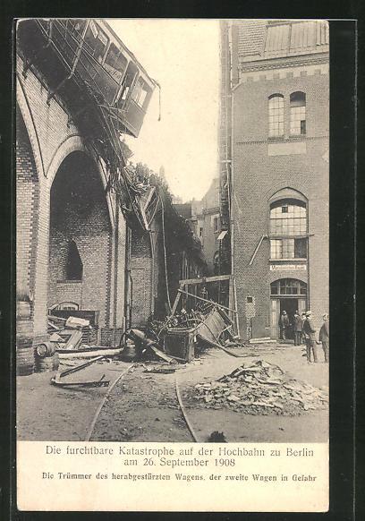 AK Berlin-Kreuzberg, Eisenbahnkatastrophe 1908