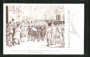 Künstler-AK Fête du Ier Juin 1901, Proclamation de la Restauration de la République du Genève 1814
