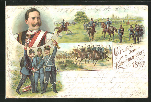 Lithographie Kaisermanöver 1897, Wilhelm II., Husar