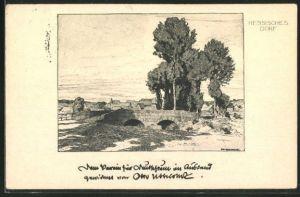 Künstler-AK Otto Ubbelohde: Hessisches Dorf, Landidyll