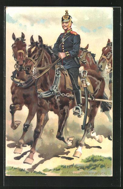 Künstler-AK Anton Hoffmann - München: Soldat zu Pferd auf einer berittener Artillerie, Hess. Landesverband