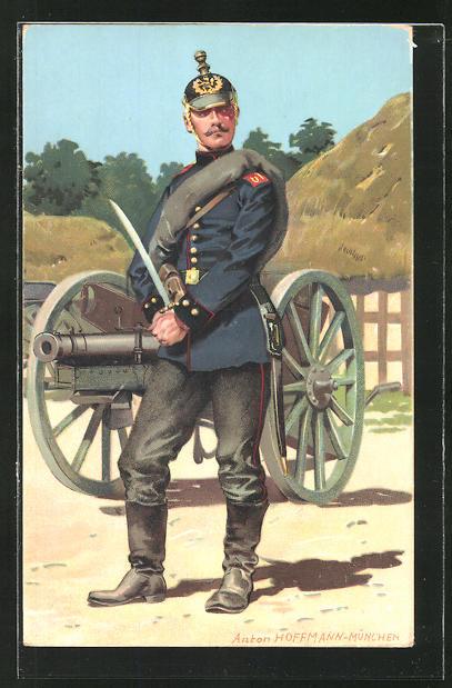 Künstler-AK Anton Hoffmann - München: Artillerist neben einem Feldgeschütz, Hess. Landesverband