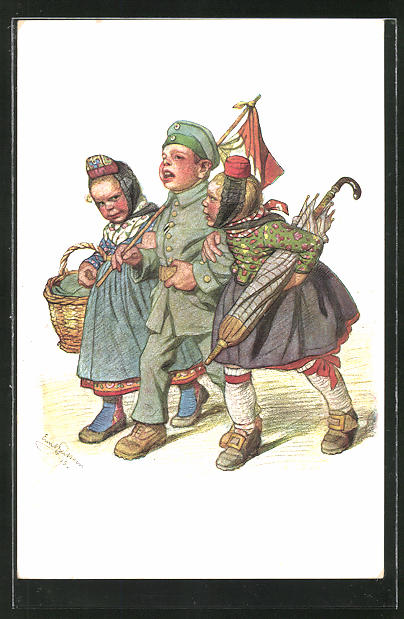 Künstler-AK Emil Beithan: Soldat mit zwei Frauen im Arm